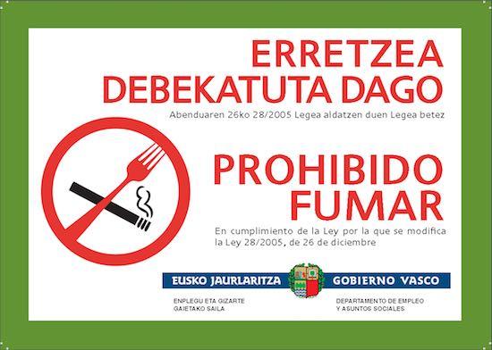 Descarga gratis el Letrero Prohibido Fumar  del Gobierno Vasco
