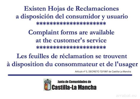 Cartel de Hoja de Reclamaciones de Castilla La Mancha