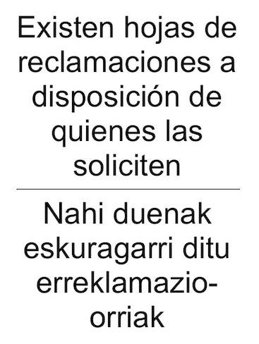 Cartel Hojas Reclamaciones Pais Vasco