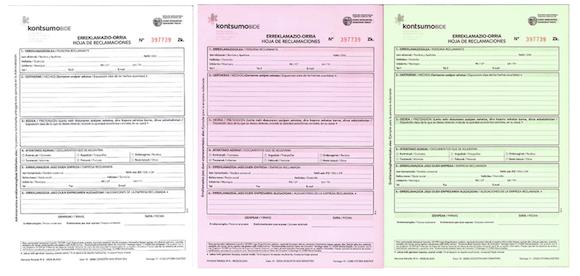 La hoja de reclamaciones es un formulario en euskera y castellano, formado por tres hojas autocalcables